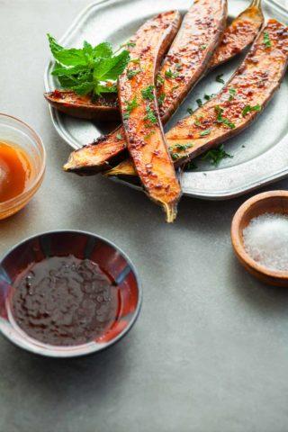 Honey Harissa Roasted Eggplant