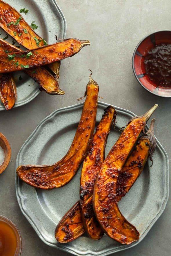 Honey Harissa Spicy Roasted Eggplant on Plates