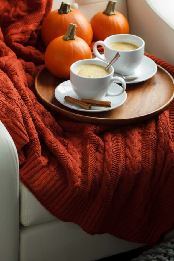 One of my go-to cool weather drinks is this tea latte filled with pumpkin spice. It's the perfect way to start the day on a chilly morning or wind down before bed. I make it with Rooibos tea so I can enjoy all the seasonal flavors minus the caffeine jitters.