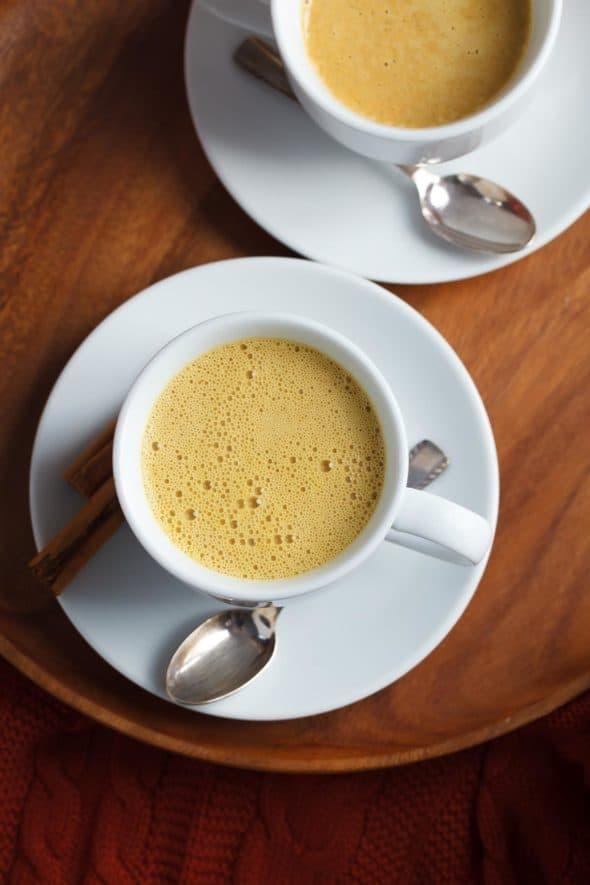 Rooibos Pumpkin Spice Tea Latte Overhead VIew