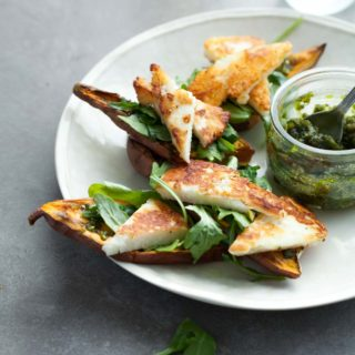 These arugula and halloumi topped sweet potato tartines (toasts) make a terrific lunch or fun and unexpected appetizer.