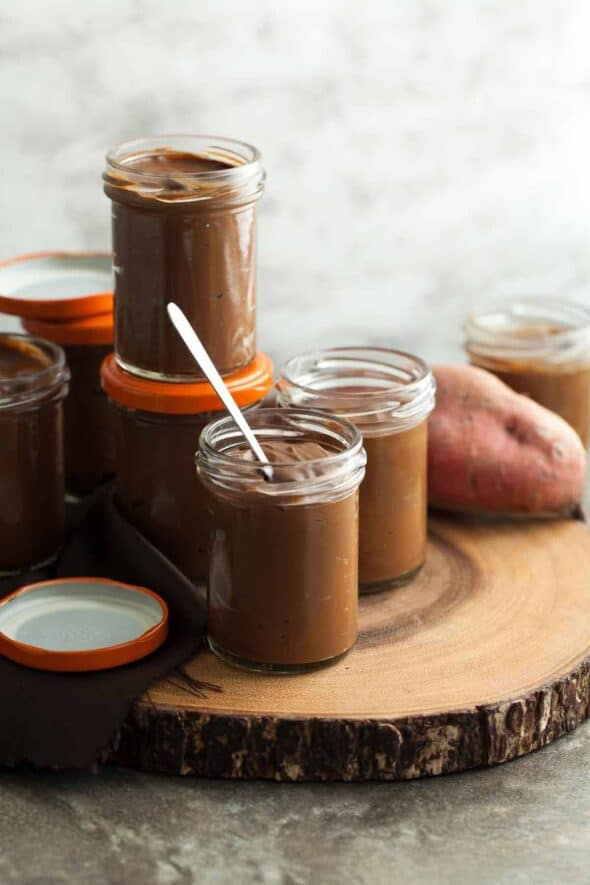 Chocolate Sweet Potato Pudding in Jars