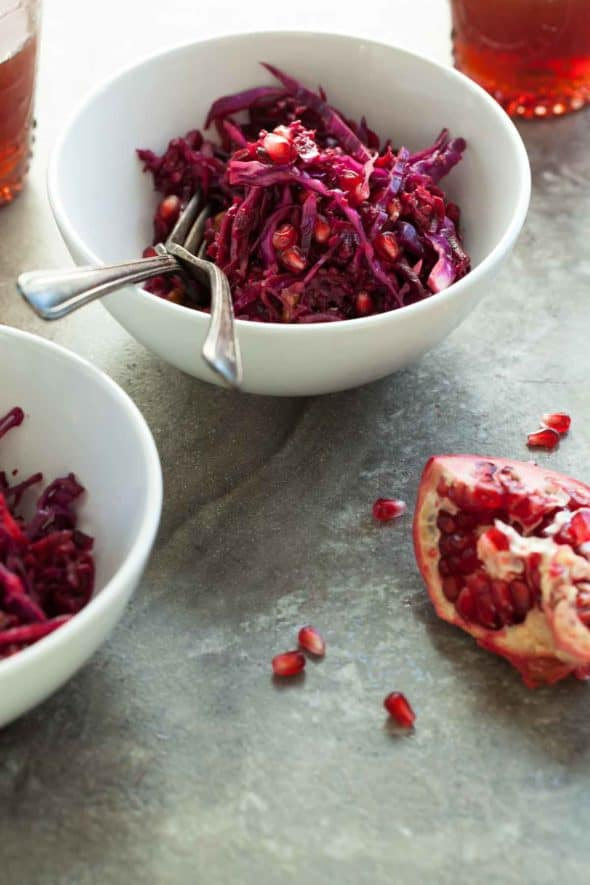 A festive red slaw filled with the bold colors and flavors of beets, carrots and pomegranate.