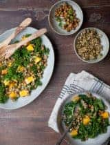 Massaged Kale Salad with Butternut Squash and Wildly Delicious Roasted Chickpeas