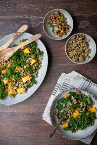 Massaged Kale and Butternut Squash Salad from Cut the Sugar, You're Sweet Enough by Ella Leché
