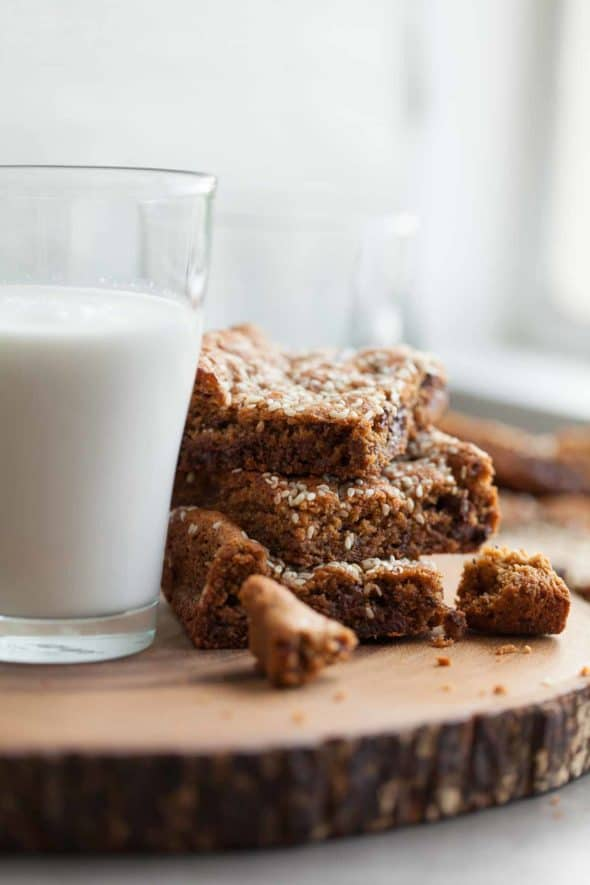Tahini Blondies With Glass of Milk