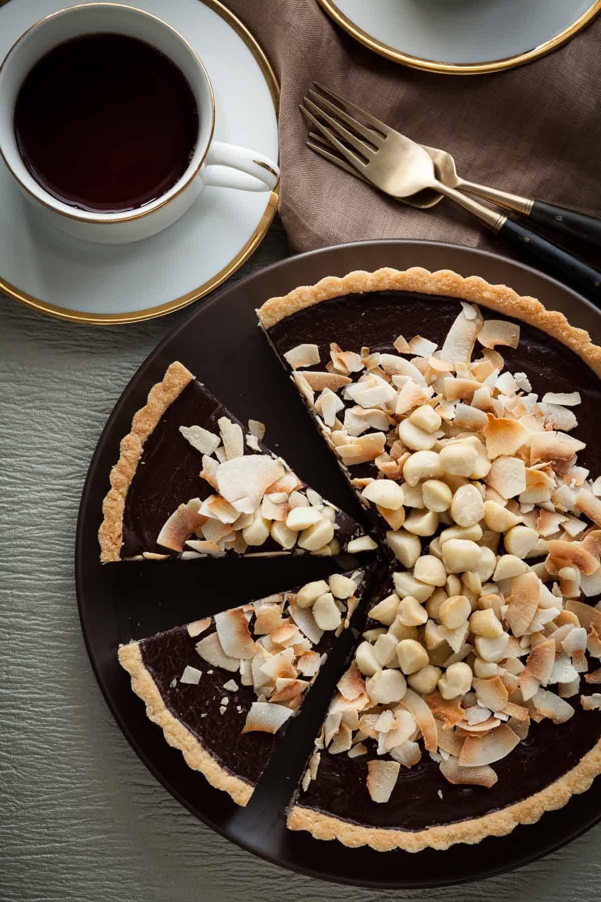 Chocolate Coconut Macadamia Nut Tart Gluten Free Paleo