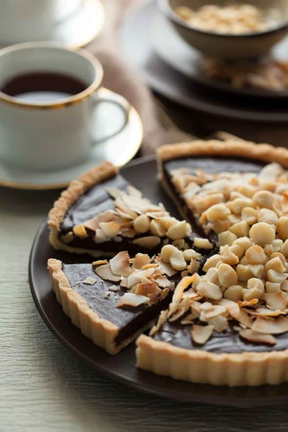This chocolate coconut tart is dense, silky, utterly simple and guaranteed to fulfill your chocolate cravings