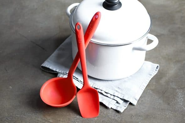 This ladle features a flexible front edge that can bend into the corner of any bowl or soup pot to reach spots no other ladle could.