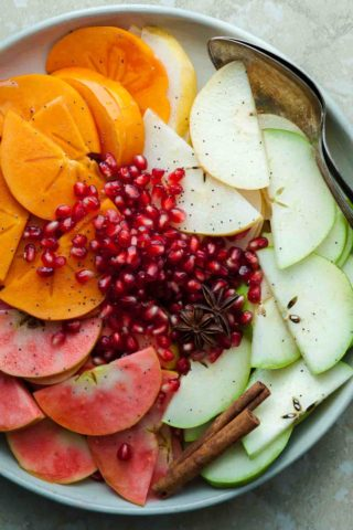 Holiday Fruit Salad with Spiced Vanilla Bean Syrup (Paleo, Vegan)