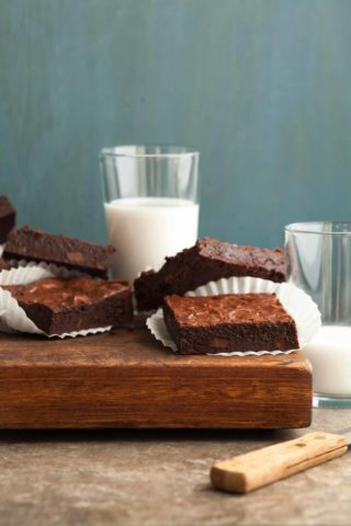 Flourless Triple Chocolate Brownies - These fudgy flourless ,gluten-free chocolate brownies are bursting at the seams three kinds of chocolate.
