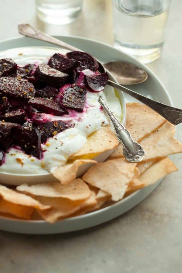 Honey Roasted Beets with Goat Cheese Yogurt Dip and Spoons