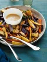 Thyme Roasted Root Vegetables with Miso Mustard Sauce
