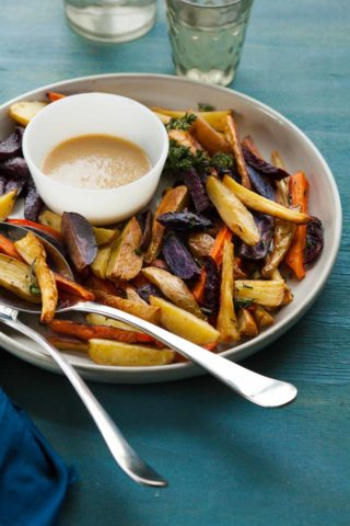 Thyme Roasted Root Vegetables with Miso Mustard Sauce Recipe -