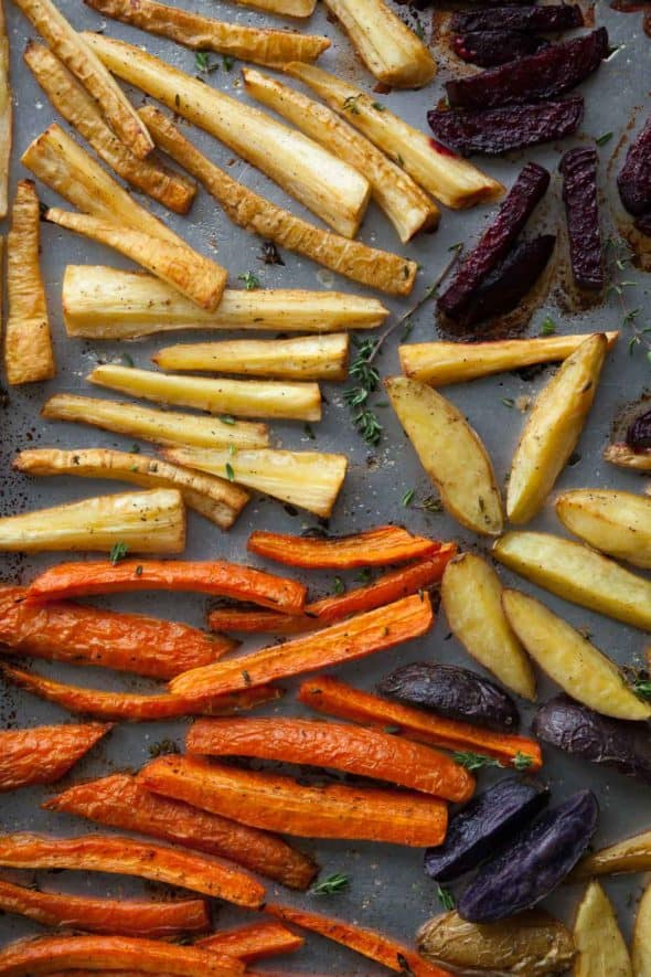 Thyme Roasted Root Vegetables with Miso Mustard Sauce Recipe - Winter root vegetables are roasted until tender and caramelized, and tossed with a zingy miso-mustard sauce.