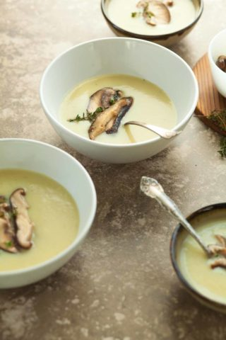 Celery Root and Potato Soup with Sautéed Shiitakes