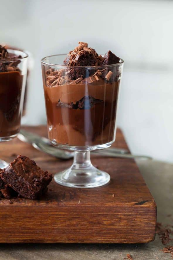 Chocolate Brownie Trifle - A chocolate filled trifle with layers of silky pudding, fudgy brownies and a rich chocolate sauce. (Gluten-Free, Grain-Free, Paleo-Friendly)
