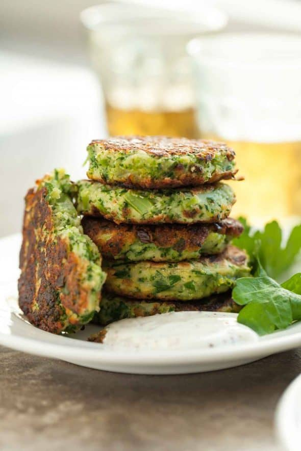 Gluten-Free Broccoli Fritters with Goat Cheese with Yogurt on Side