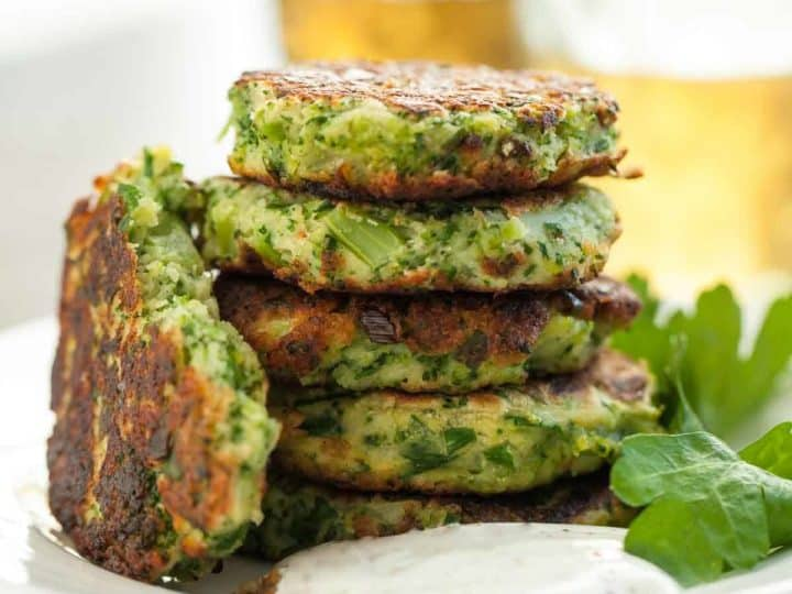 Broccoli Goat Cheese Fritters with Sumac Yogurt (Gluten-Free)