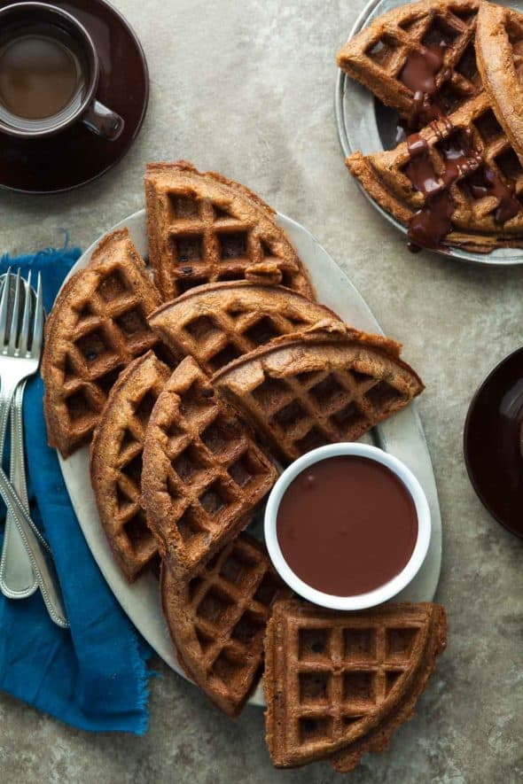 Gluten-Free Almond Butter Waffles with Chocolate Sauce On Plates