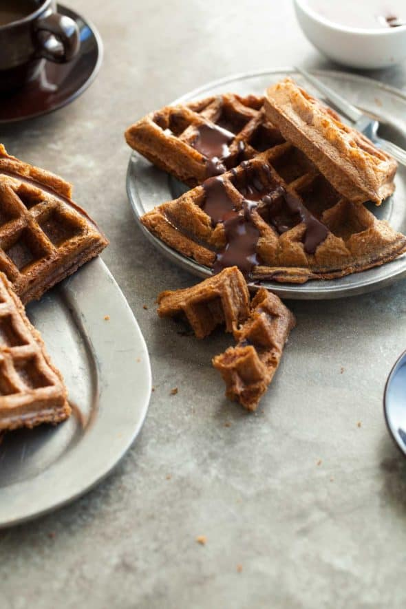 Gluten-Free Almond Butter Waffles with Chocolate Sauce on Plate