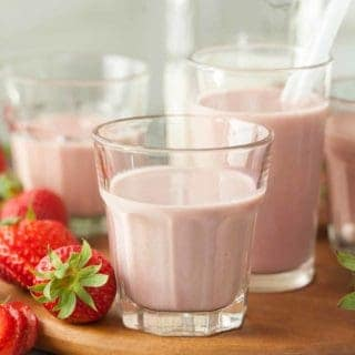 Strawberry Cashew Chia Milk (Dairy-Free, Paleo) - A creamy and dairy-free strawberry milk that's full of real strawberries.