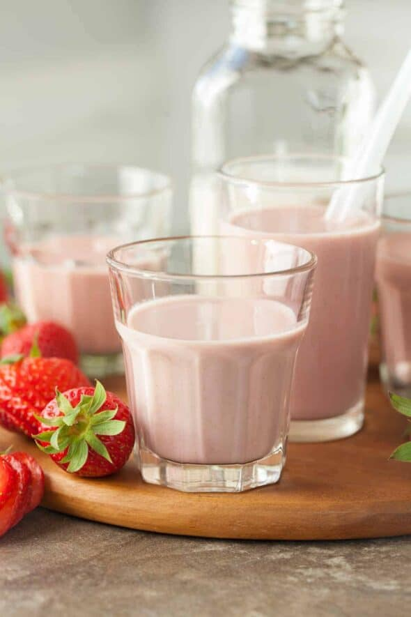 Strawberry Cashew Milk in Glasses