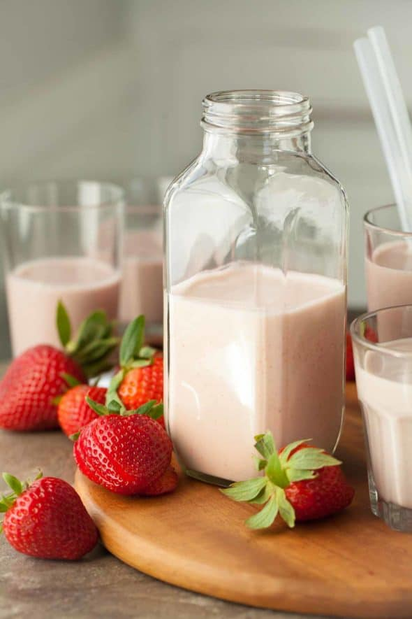 Strawberry Cashew Milk in Glass Bottle