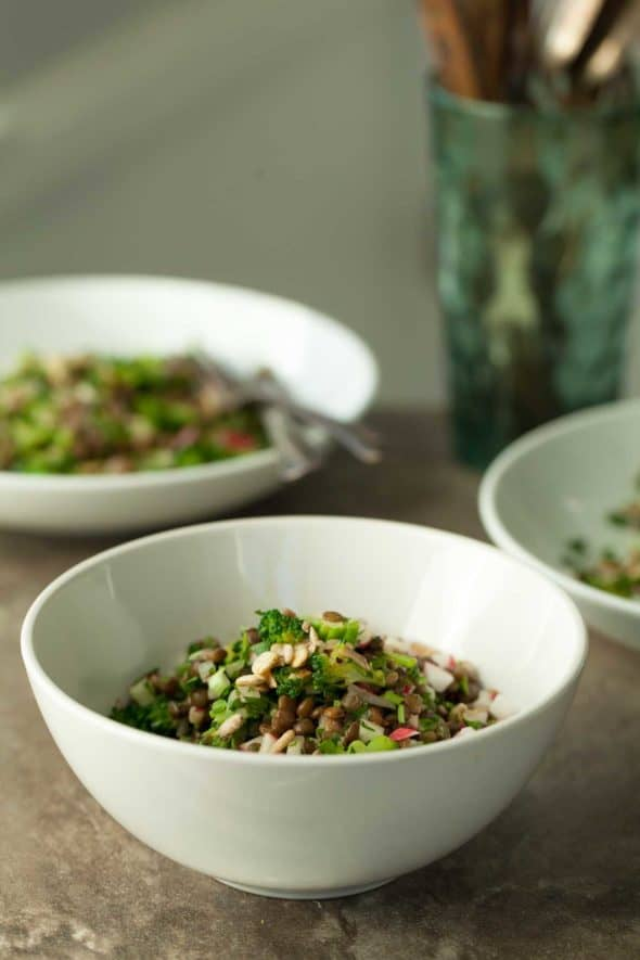Tabbouleh Style Lentil Radish Salad - Filled with fresh herbs and crunchy radishes, this lentil salad is a spring inspired twist on traditional tabbouleh.