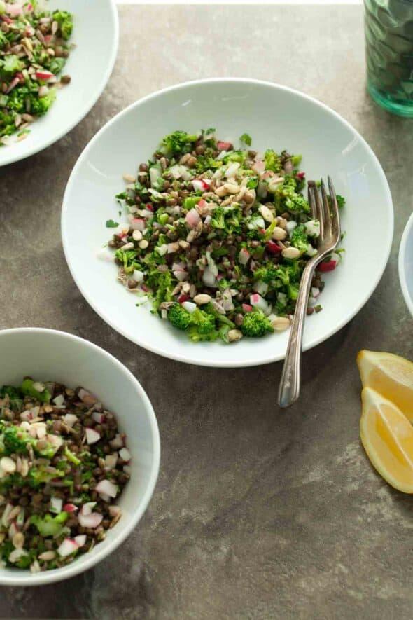 French Lentil Tabbouleh Salad in Bowls