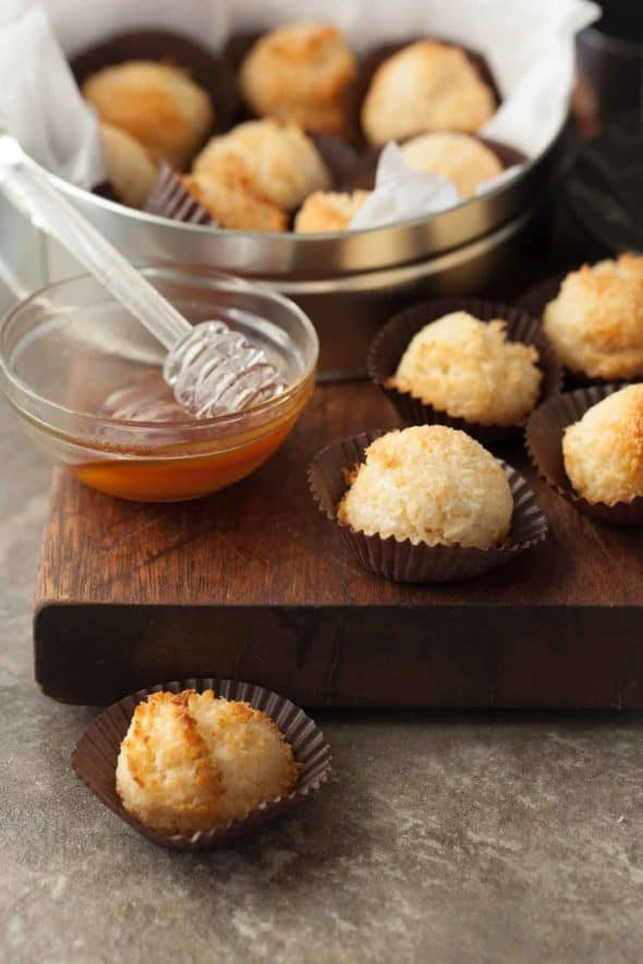 Honey Coconut Macaroons (Paleo, Dairy-Free) - These coconut macaroons are soft and chewy with the sweet taste of honey.