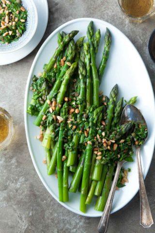 Asparagus with Caper Pine Nut Gremolata