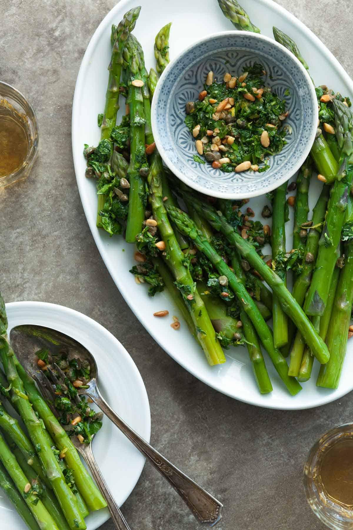 Asparagus with Caper Pine Nut Gremolata | Gourmande in the Kitchen