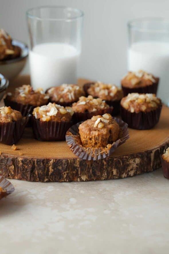 Mini Gluten-Free Applesauce Carrot Cake Muffins on Board