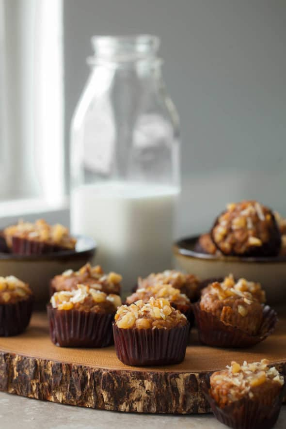 Mini Gluten-Free Applesauce Carrot Cake Muffins on Board with Milk