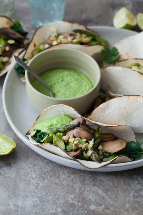 Mushroom Asparagus Tacos with Jalapeno Cashew Crema Close Up Side