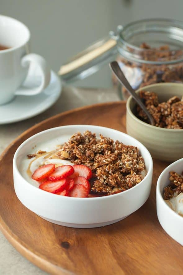 Super Seeded Grain-Free Granola Tahini Yogurt Breakfast Bowls Topped with Strawberries