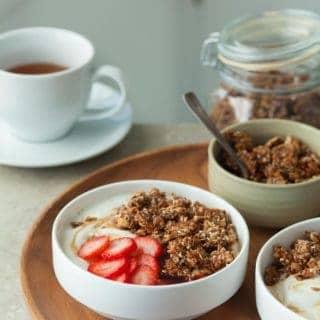 Super Seeded Grain-Free Granola Tahini Yogurt Breakfast Bowl (Paleo, Vegan) - Start your morning off right with a tahini yogurt breakfast bowl topped with homemade grain-free and nut-free granola.