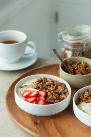 Super Seeded Grain-Free Granola Tahini Yogurt Breakfast Bowls (Paleo, Vegan)