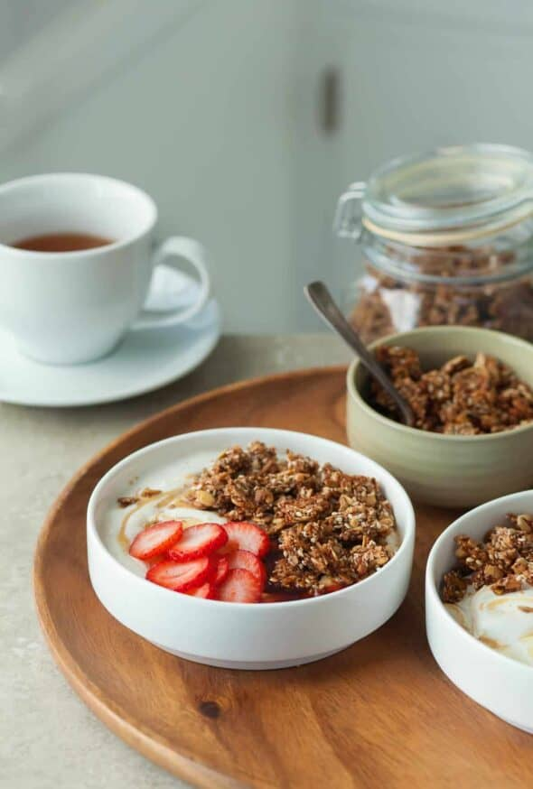 Super Seed Gluten-Free Granola Yogurt Bowls Topped with Strawberries