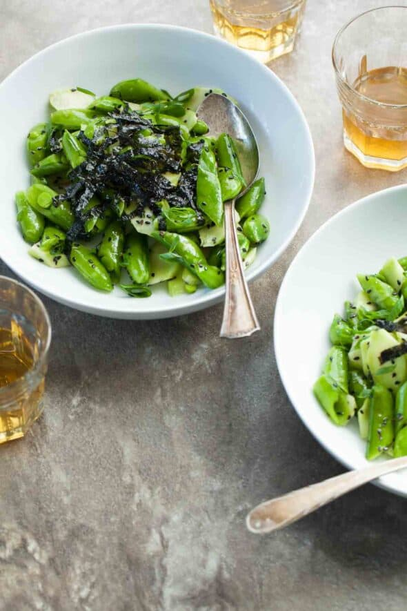 Sesame Snap Pea and Broccoli Stalk Salad (Vegan, Paleo) - sesame seeds toasted nori and a drizzle of sesame oil turn fresh sugar snap peas and broccoli stalks into a special side salad.