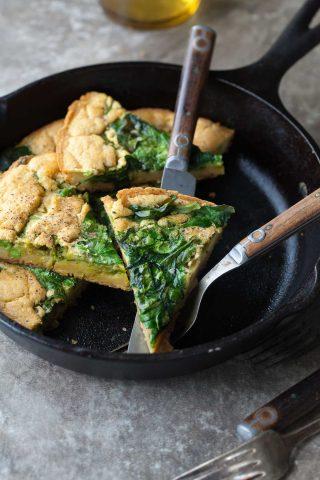 Spinach and Pea Pesto Socca/Farinata (Gluten-Free, Vegan)
