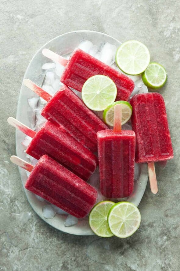 Probiotic Cherry Lime Popsicles on Plate