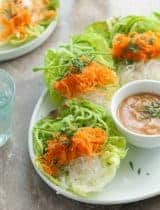 Cucumber, Carrot and Kelp Noodle Lettuce Wraps (Raw, Paleo, Vegan)