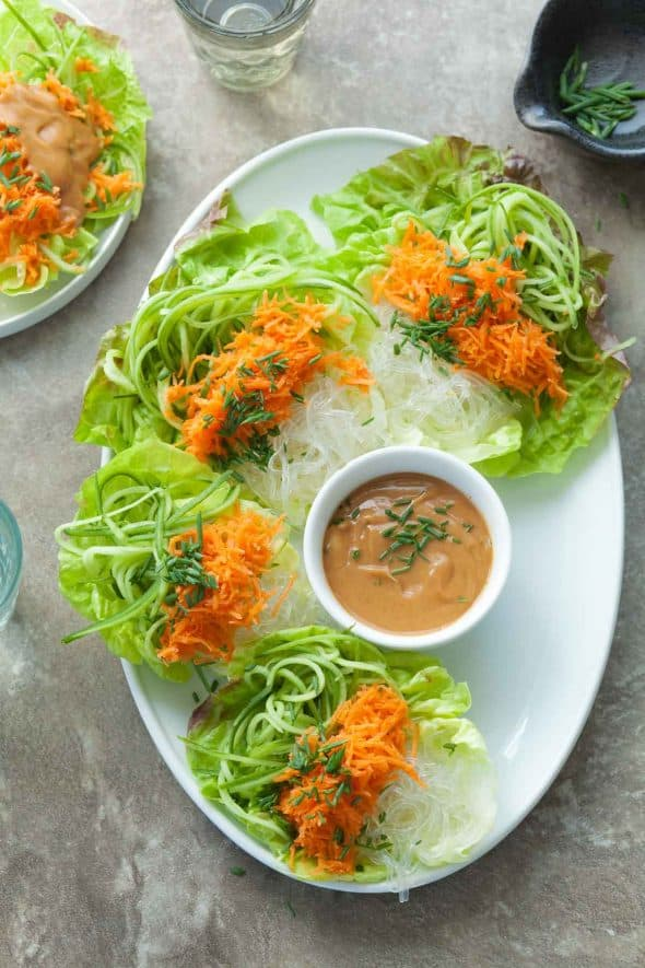 Cucumber, Carrot and Kelp Noodle Lettuce Wraps with Sesame Sunflower Sauce on Platter