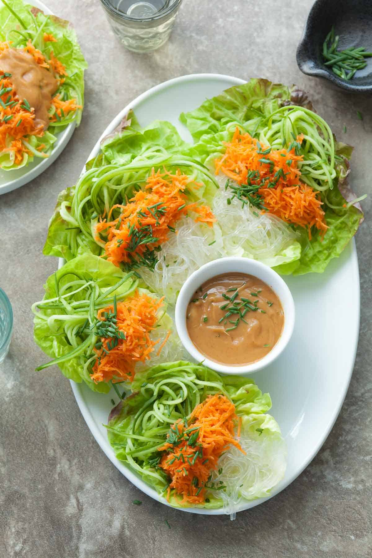 Cucumber and Kelp Noodle Lettuce Wraps with Sesame Sunflower Sauce (Raw, Paleo, Vegan)