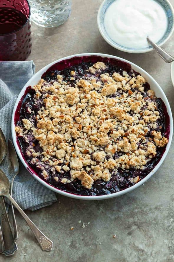 Cherry Berry Almond Crumble in Dish on Table