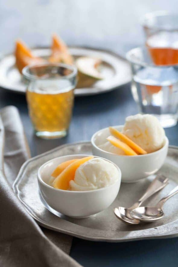 Goat Milk Frozen Yogurt with Tea Infused Cantaloupe in Small Cups