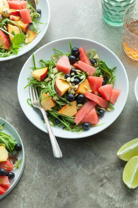 Sweet and Savory Cucumber Fruit Salad (Paleo, Vegan)