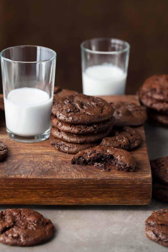 Double Chocolate Cocoa Cookies with Glasses of Milk